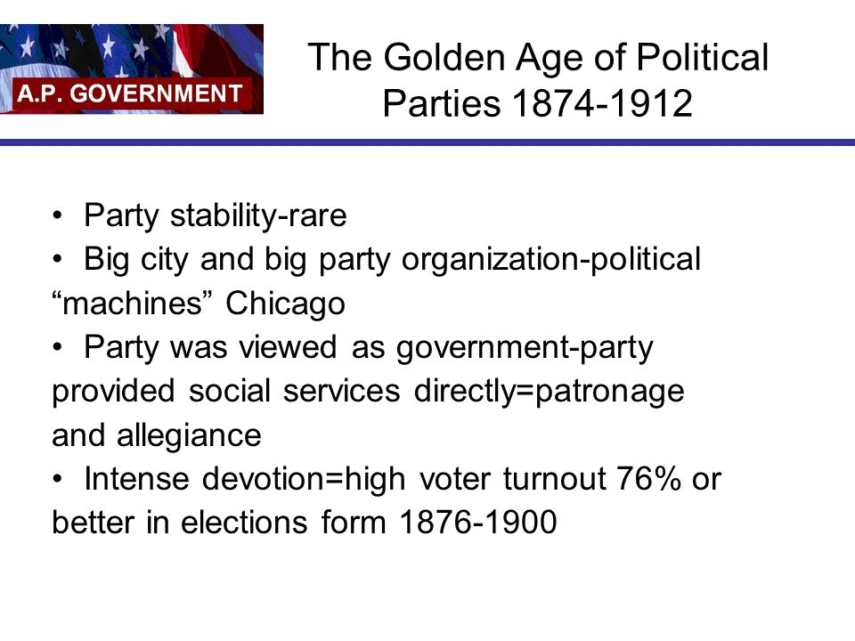 The Golden Age of Political Parties 1874-1912
