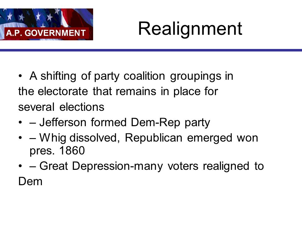 Realignment A shifting of party coalition groupings in