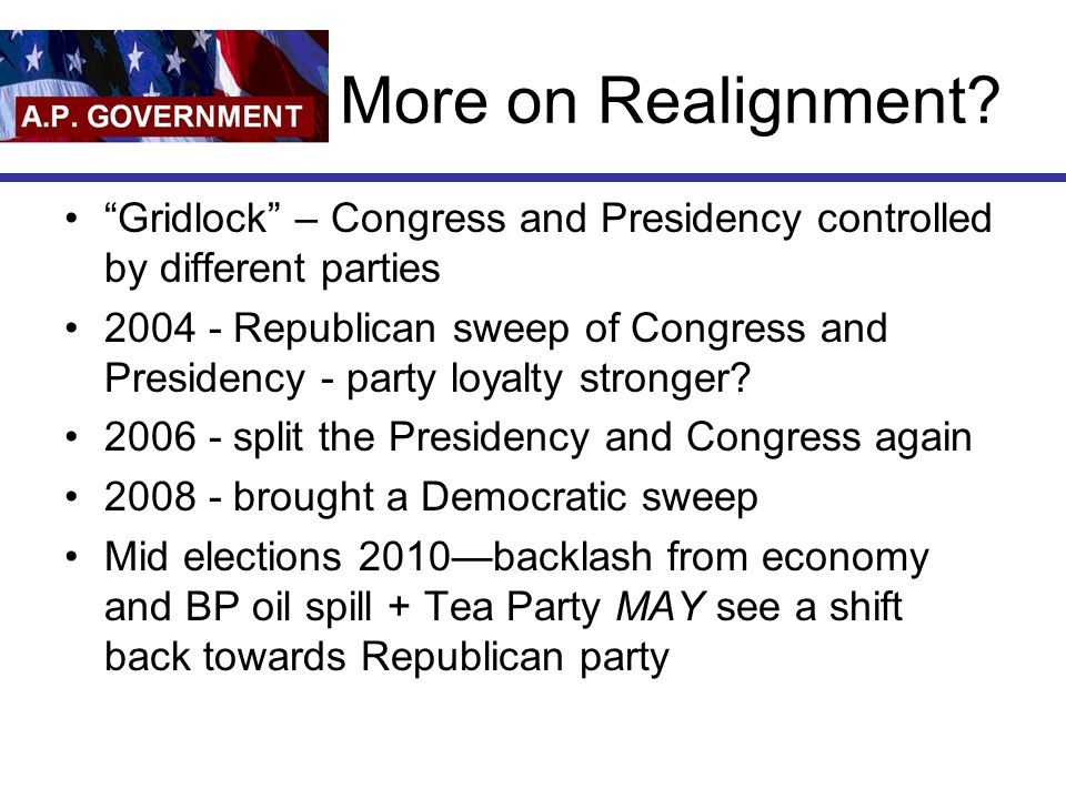 More on Realignment Gridlock – Congress and Presidency controlled by different parties.