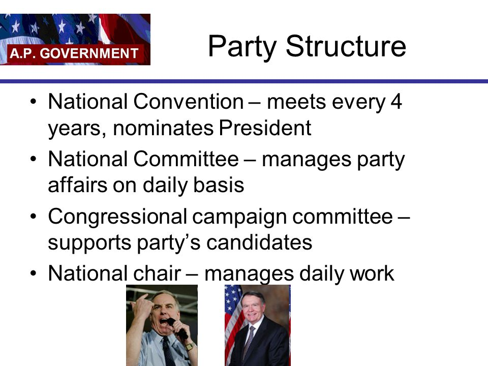 Party Structure National Convention – meets every 4 years, nominates President. National Committee – manages party affairs on daily basis.