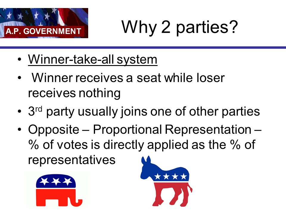 Why 2 parties Winner-take-all system