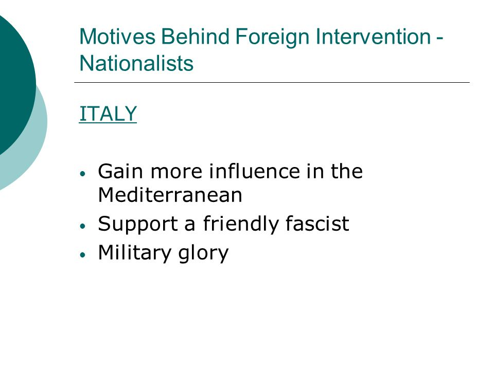 Motives Behind Foreign Intervention - Nationalists