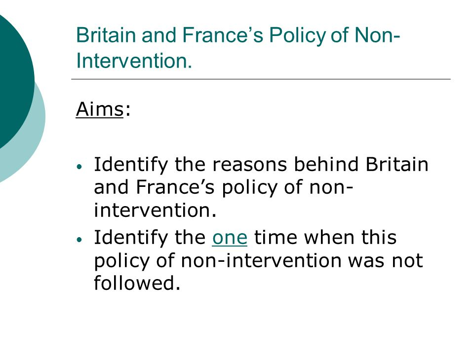 Britain and France's Policy of Non-Intervention.