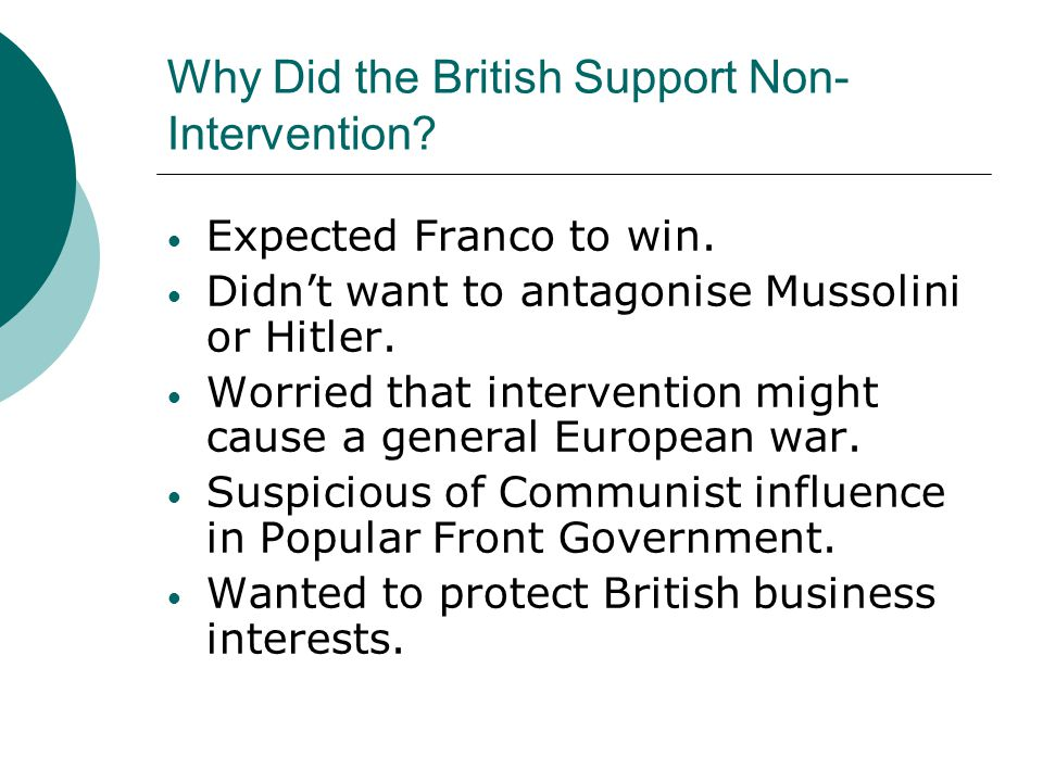 Why Did the British Support Non-Intervention