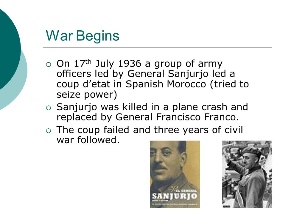 War Begins On 17th July 1936 a group of army officers led by General Sanjurjo led a coup d'etat in Spanish Morocco (tried to seize power)