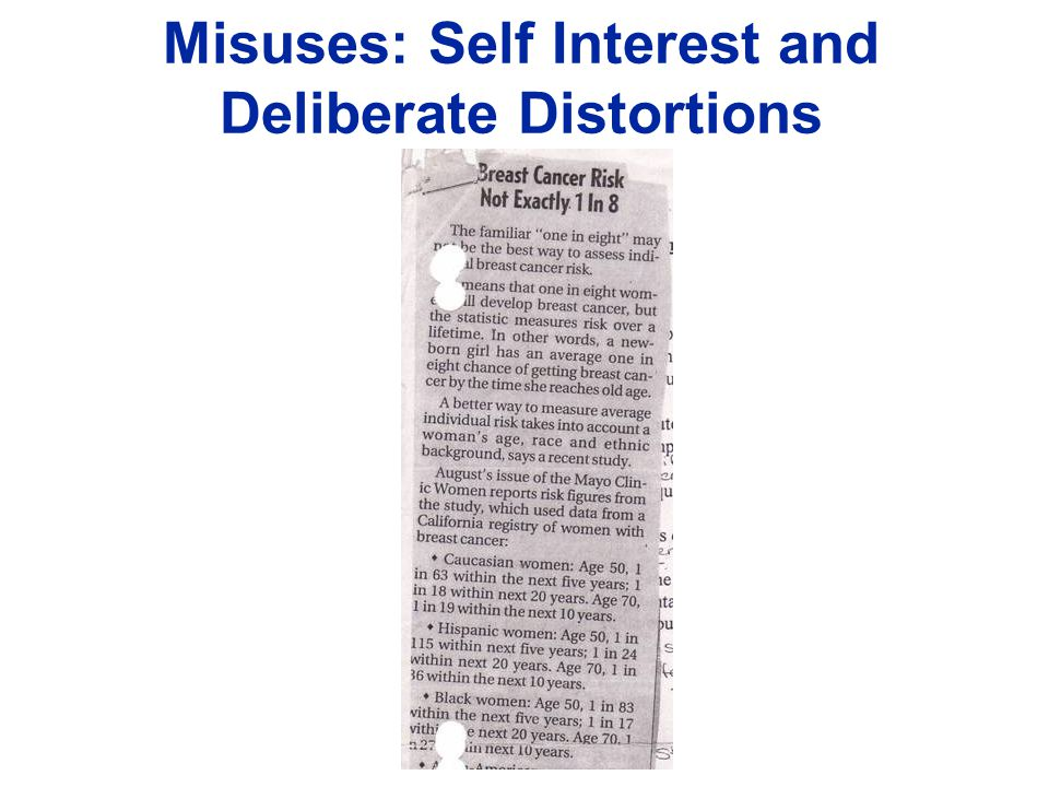Misuses: Self Interest and Deliberate Distortions