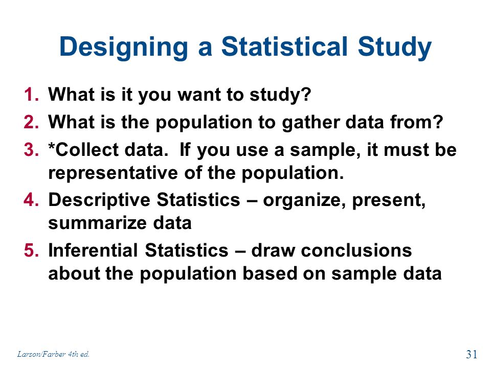 Designing a Statistical Study
