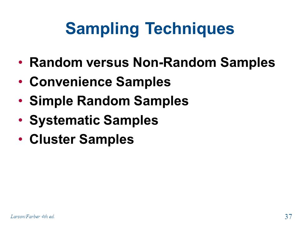 Sampling Techniques Random versus Non-Random Samples