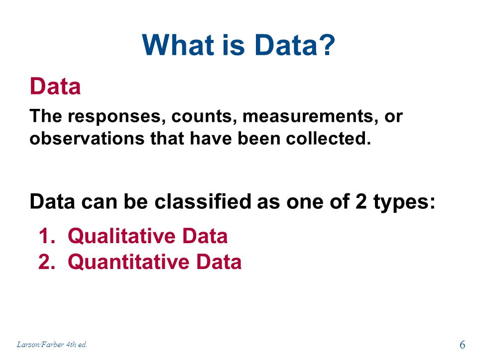 What is Data Data Data can be classified as one of 2 types: