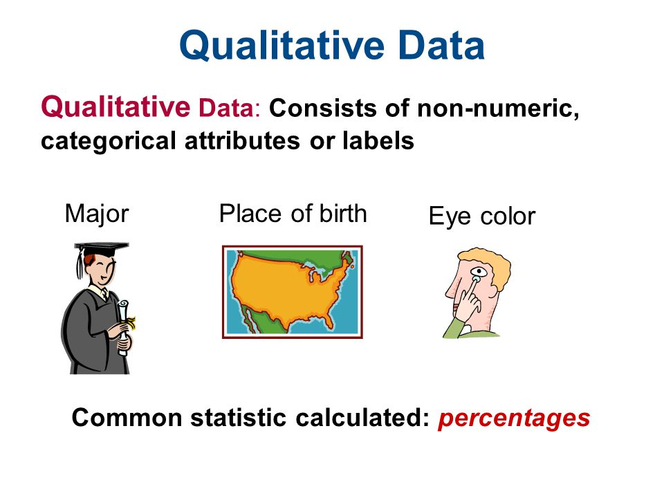 Qualitative Data Qualitative Data: Consists of non-numeric, categorical attributes or labels. Major.