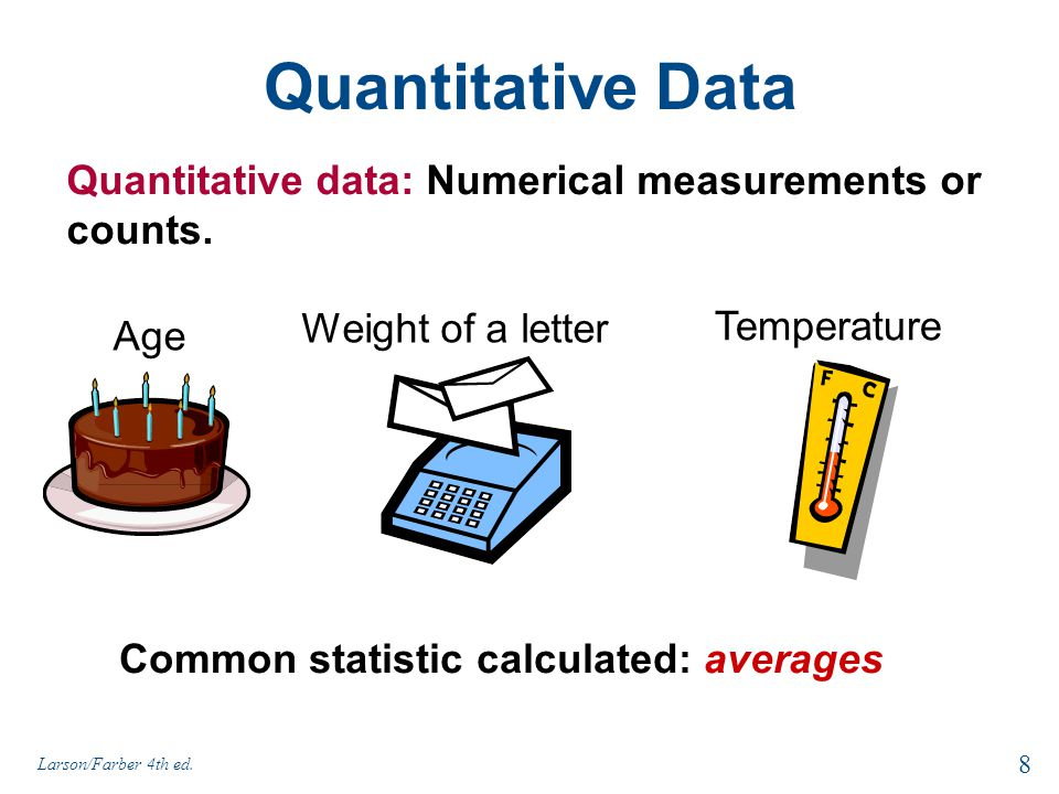Quantitative Data Quantitative data: Numerical measurements or counts.