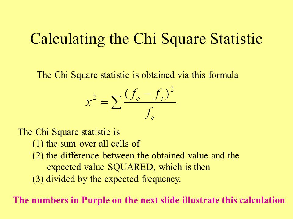 Calculating the Chi Square Statistic