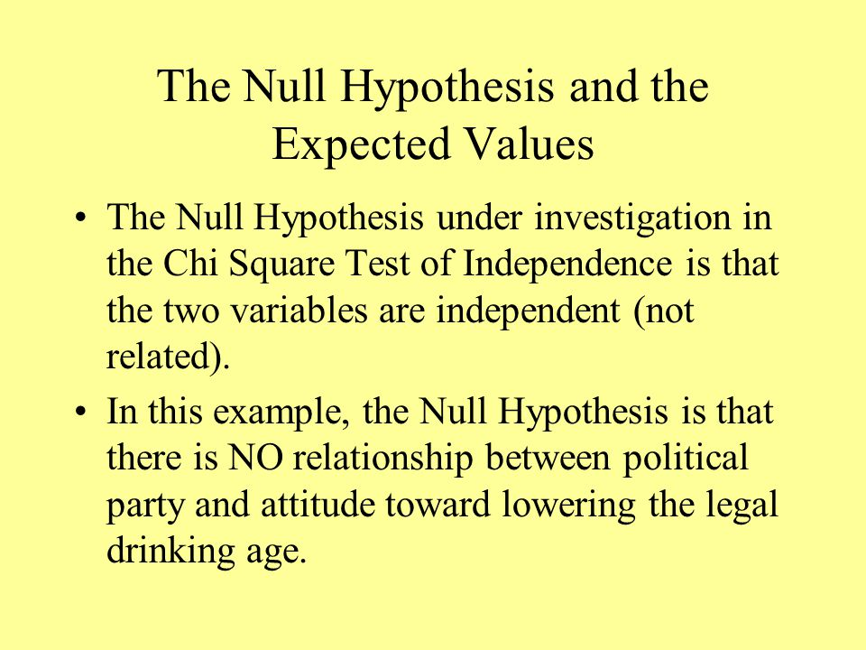 The Null Hypothesis and the Expected Values