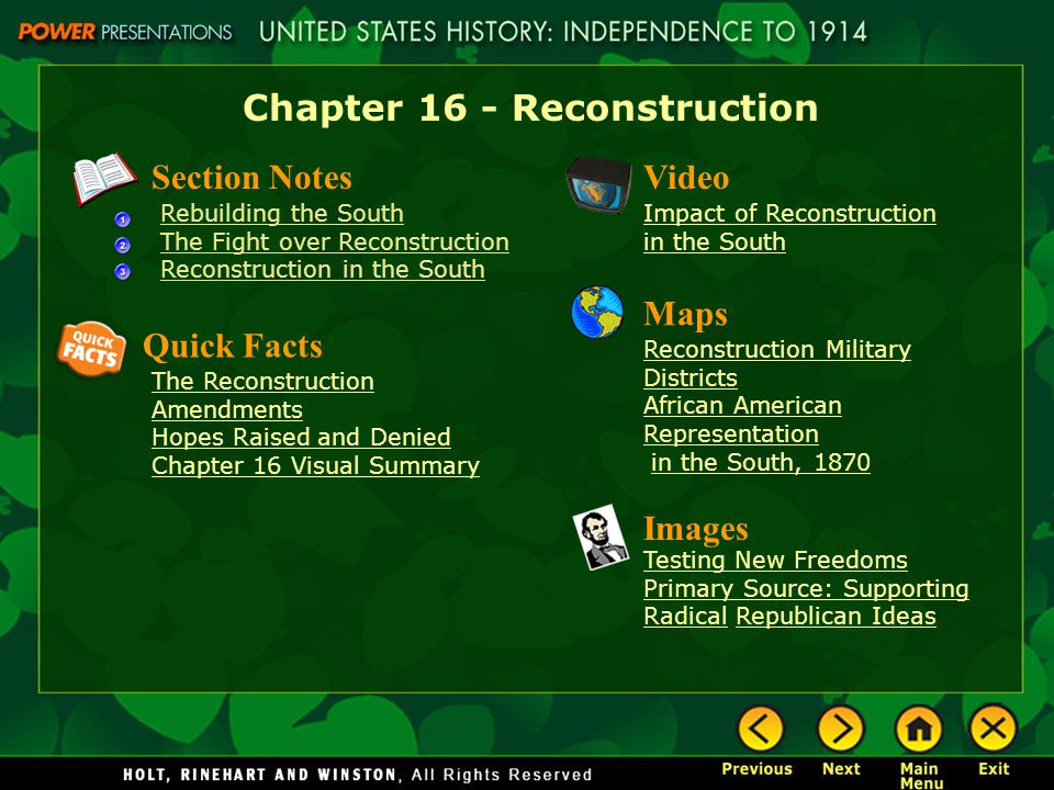 Chapter 16 - Reconstruction