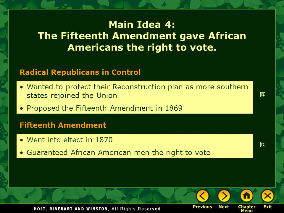 Main Idea 4: The Fifteenth Amendment gave African Americans the right to vote.