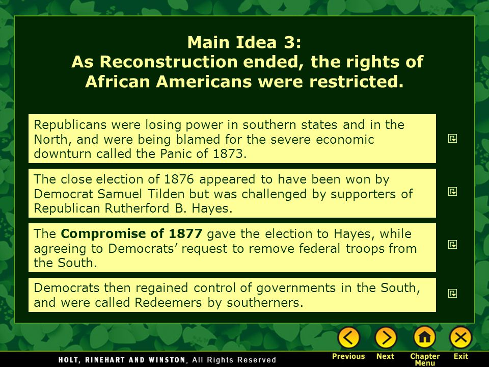 Main Idea 3: As Reconstruction ended, the rights of African Americans were restricted.