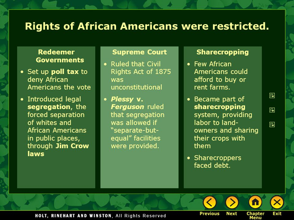 Rights of African Americans were restricted.