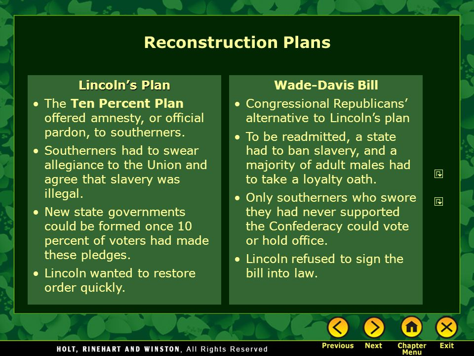 Reconstruction Plans Lincoln's Plan