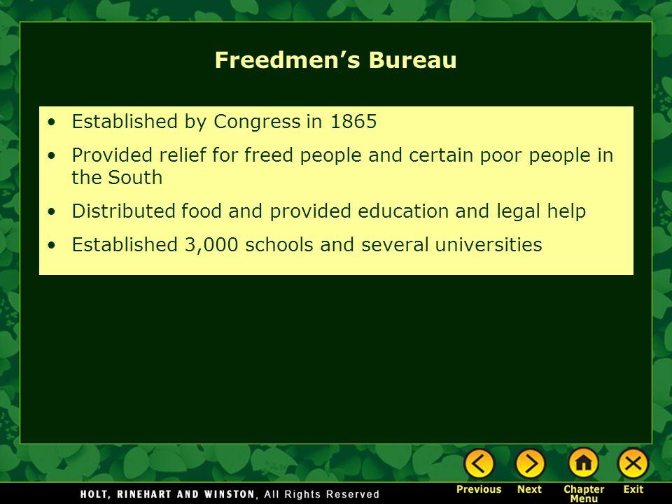 Freedmen's Bureau Established by Congress in 1865
