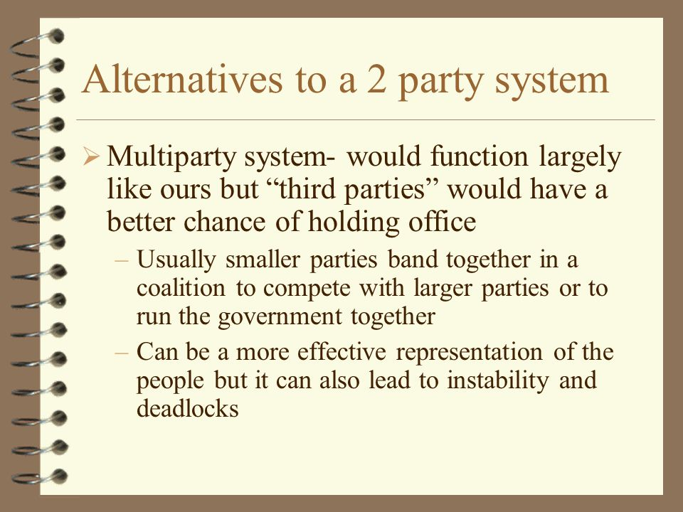 Alternatives to a 2 party system