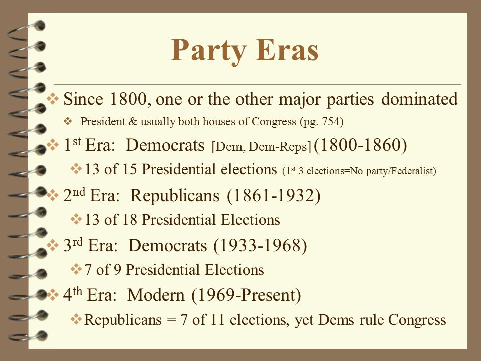 Party Eras Since 1800, one or the other major parties dominated
