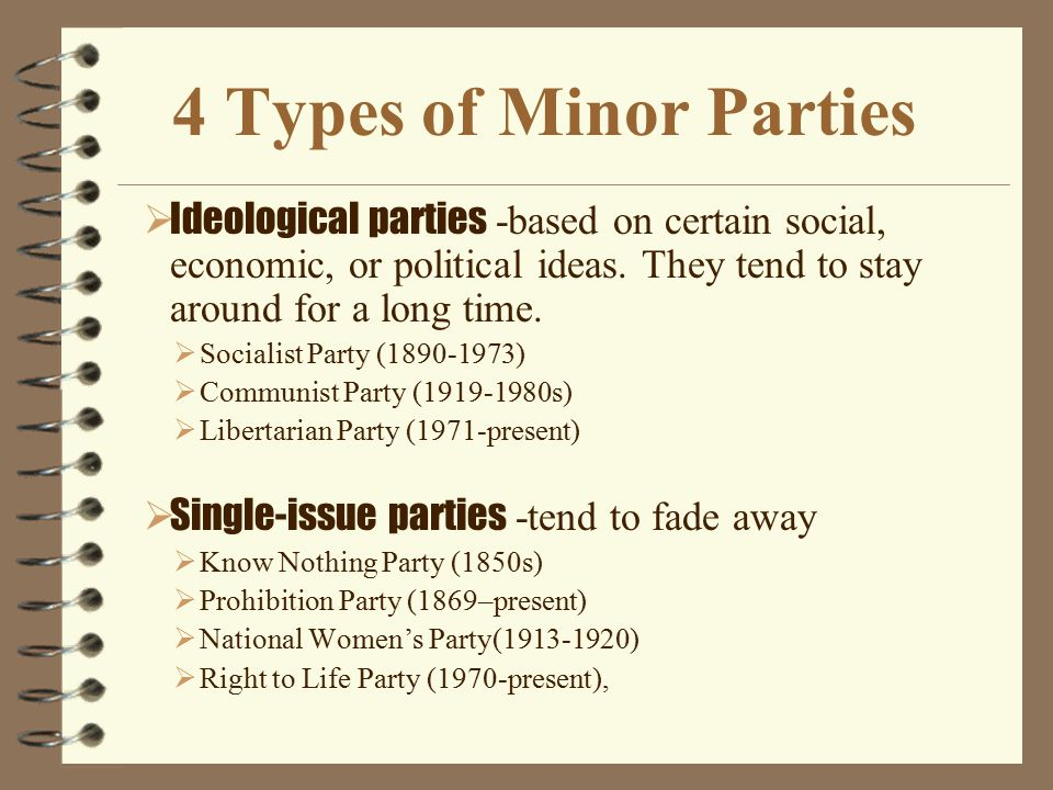 4 Types of Minor Parties Ideological parties -based on certain social, economic, or political ideas. They tend to stay around for a long time.