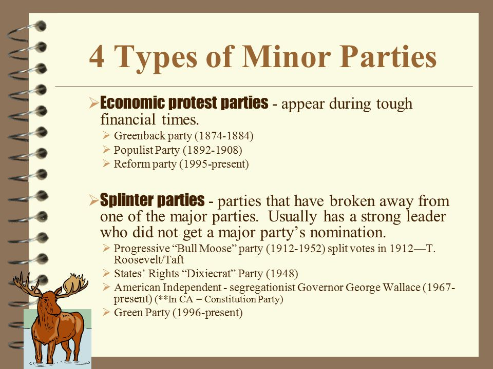 4 Types of Minor Parties Economic protest parties - appear during tough financial times. Greenback party (1874-1884)