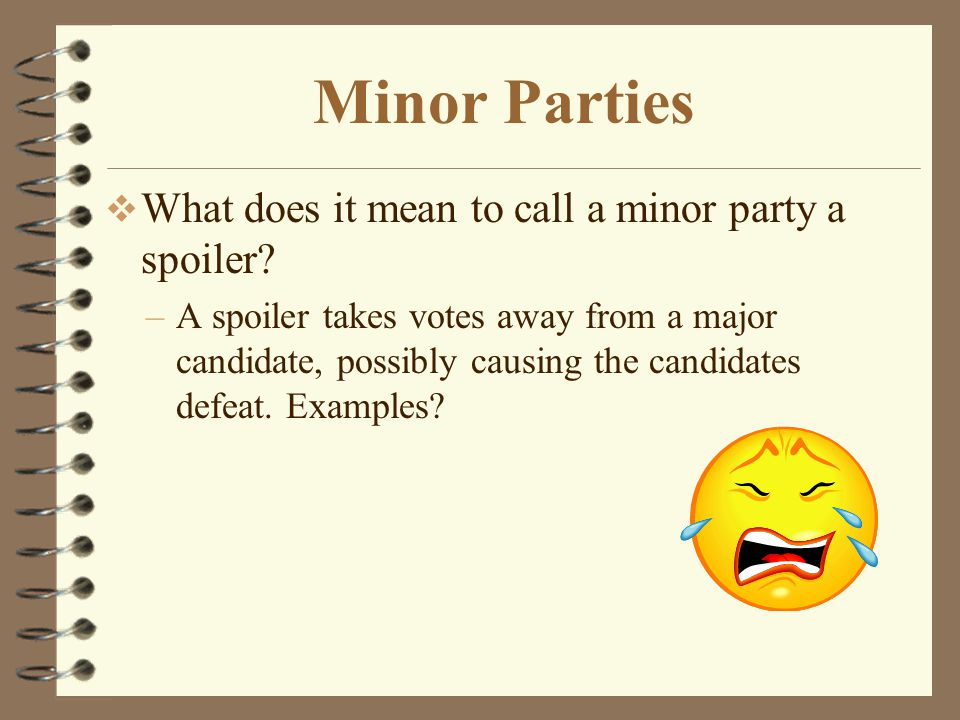 Minor Parties What does it mean to call a minor party a spoiler