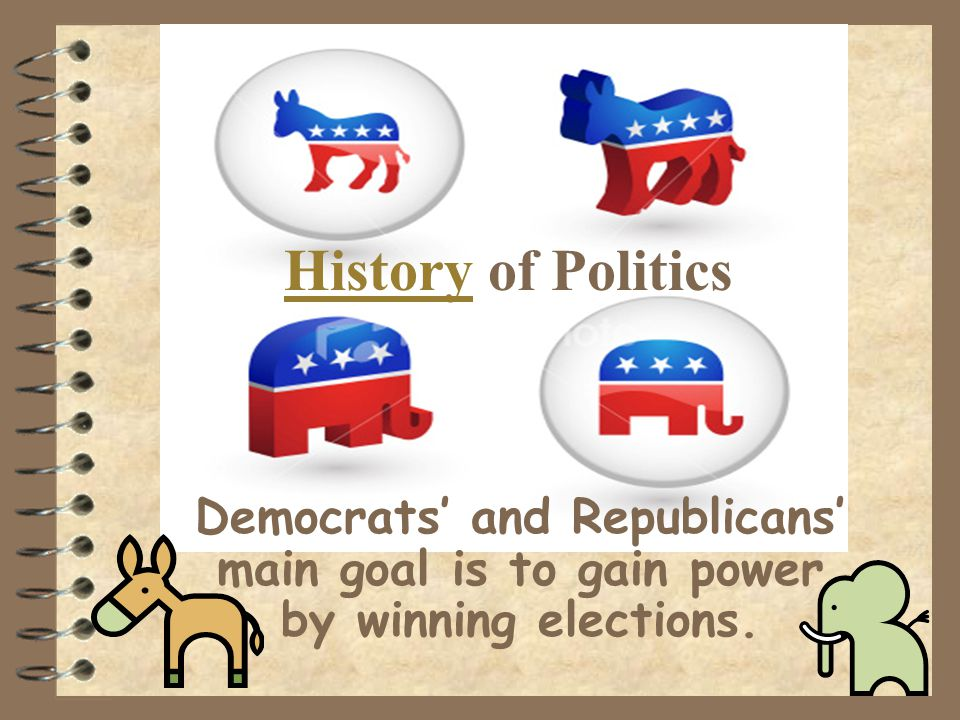 History of Politics Democrats' and Republicans' main goal is to gain power by winning elections.