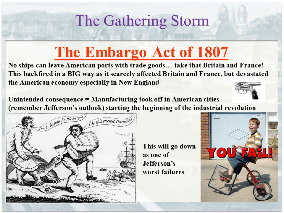 The Gathering Storm The Embargo Act of 1807
