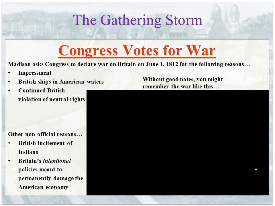 The Gathering Storm Congress Votes for War