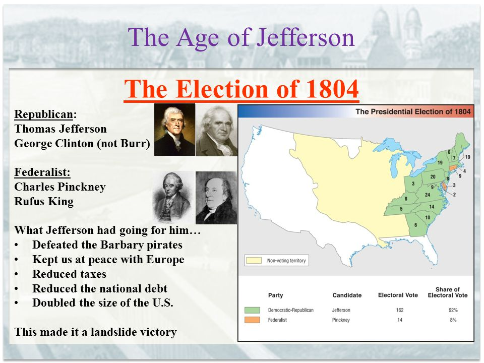 The Age of Jefferson The Election of 1804 Republican: Thomas Jefferson