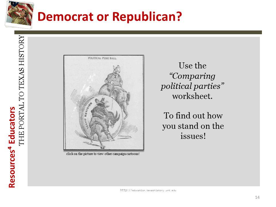 Democrat vs Republican ppt download – Worksheet Comparing American Political Parties