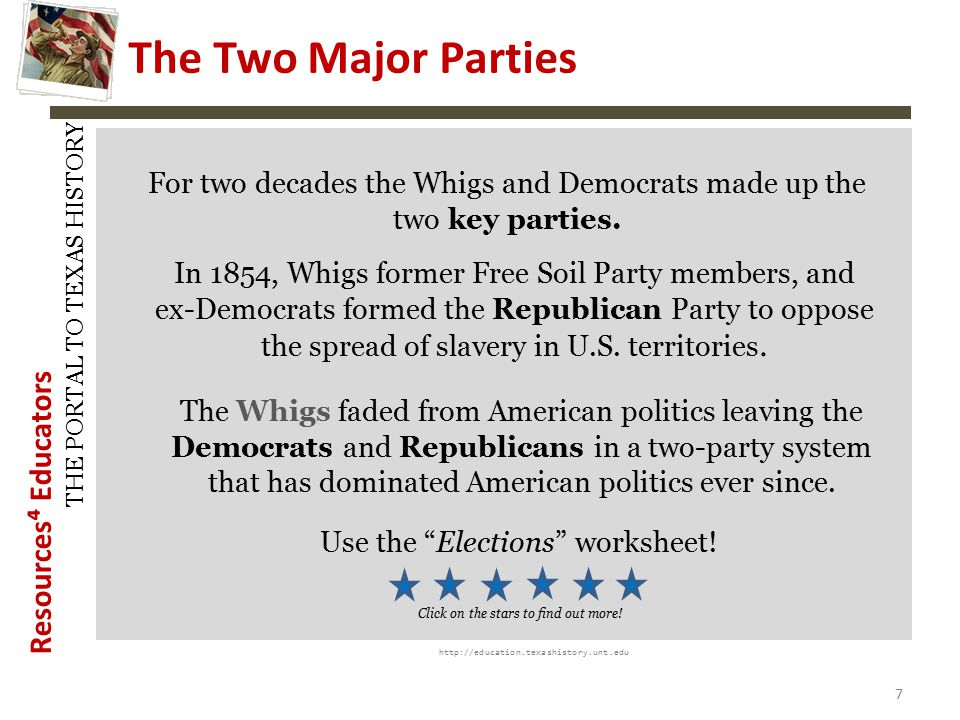 History Snapshots The Two Major Parties. For two decades the Whigs and Democrats made up the two key parties.