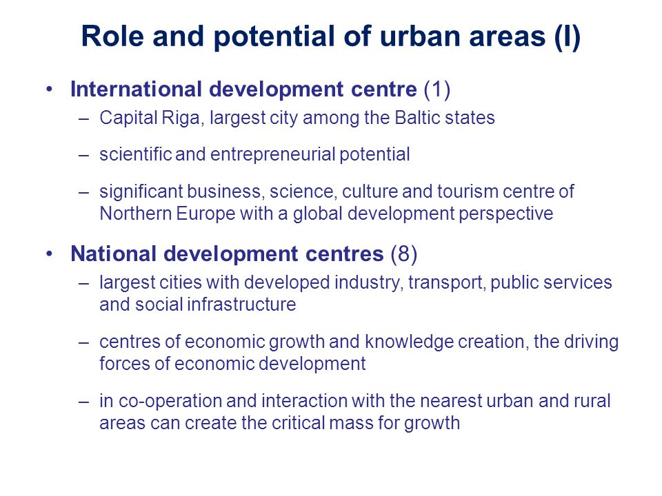 Role and potential of urban areas (I)