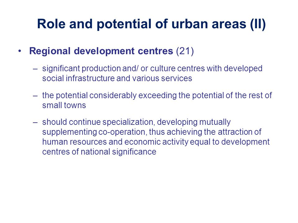 Role and potential of urban areas (II)