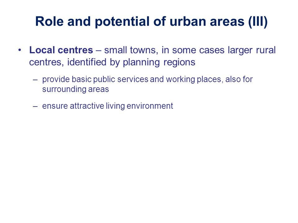 Role and potential of urban areas (III)