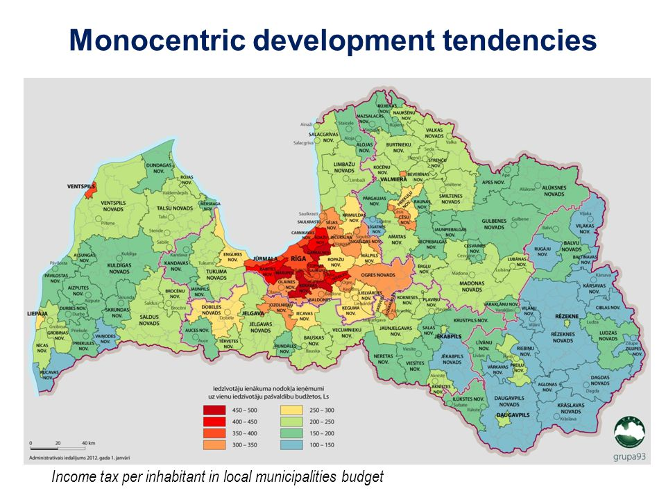 Monocentric development tendencies