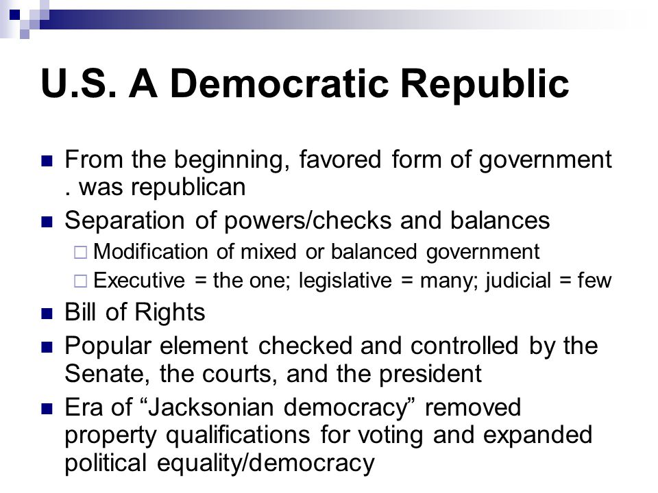 U.S. A Democratic Republic