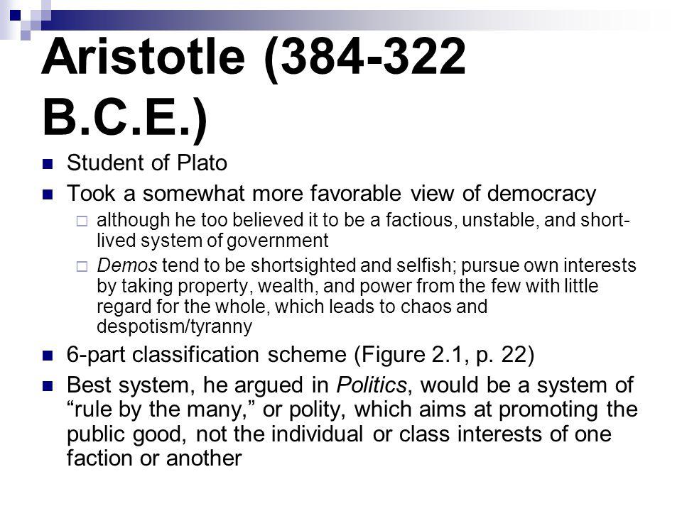 Aristotle (384-322 B.C.E.) Student of Plato
