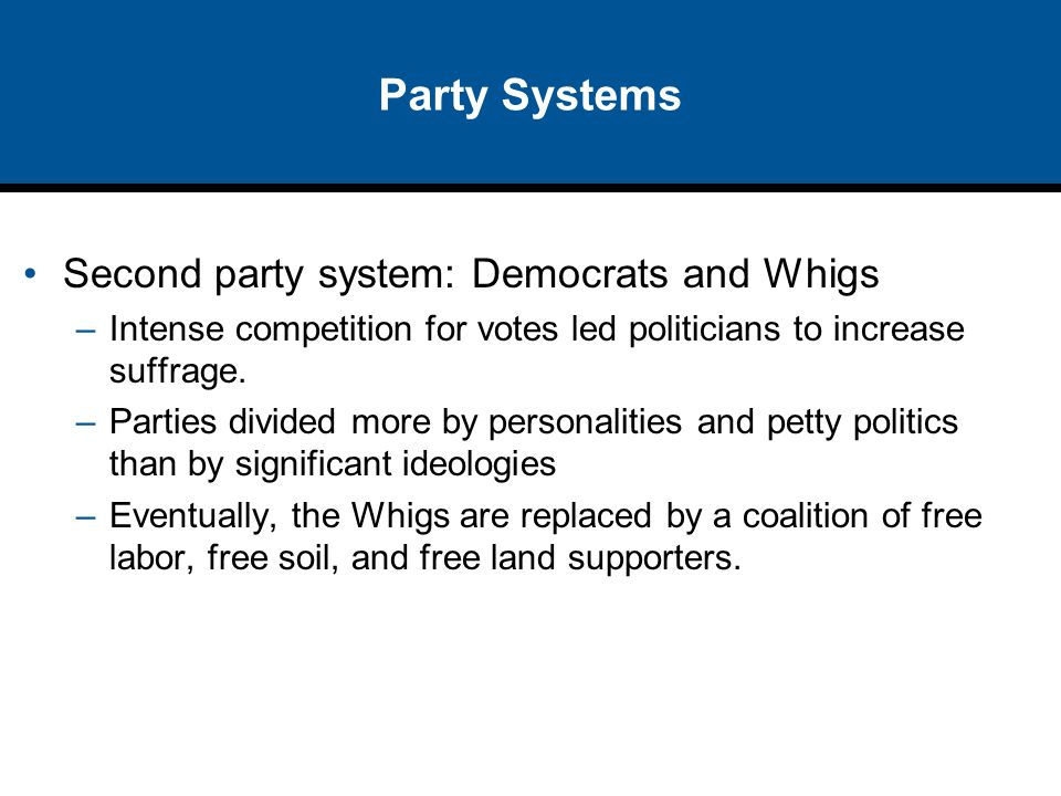Party Systems Second party system: Democrats and Whigs