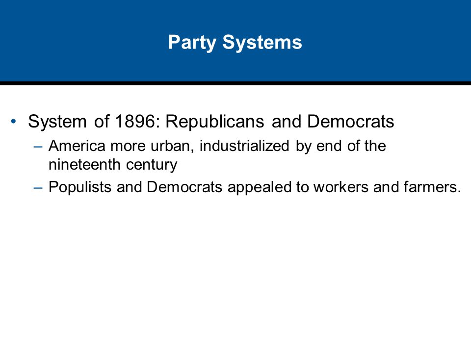 Party Systems System of 1896: Republicans and Democrats