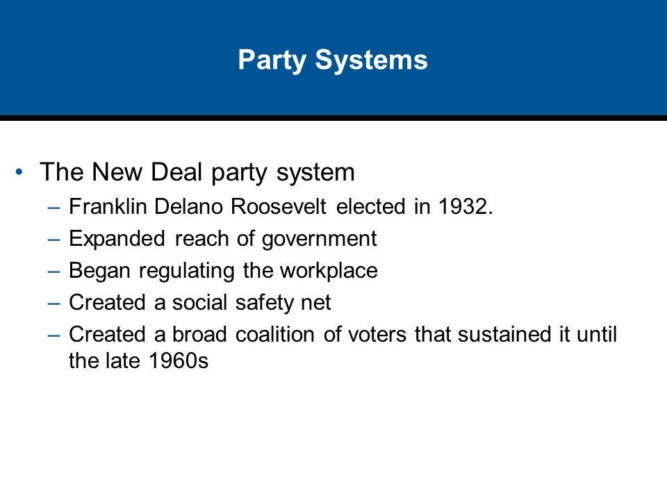 Party Systems The New Deal party system