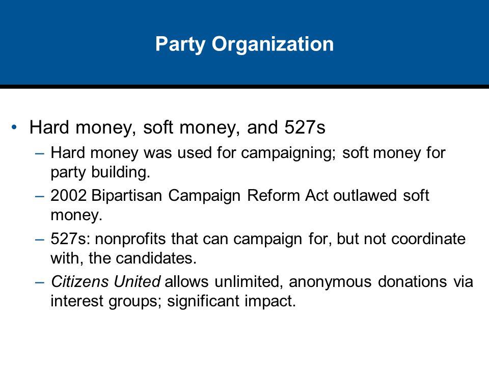 Party Organization Hard money, soft money, and 527s