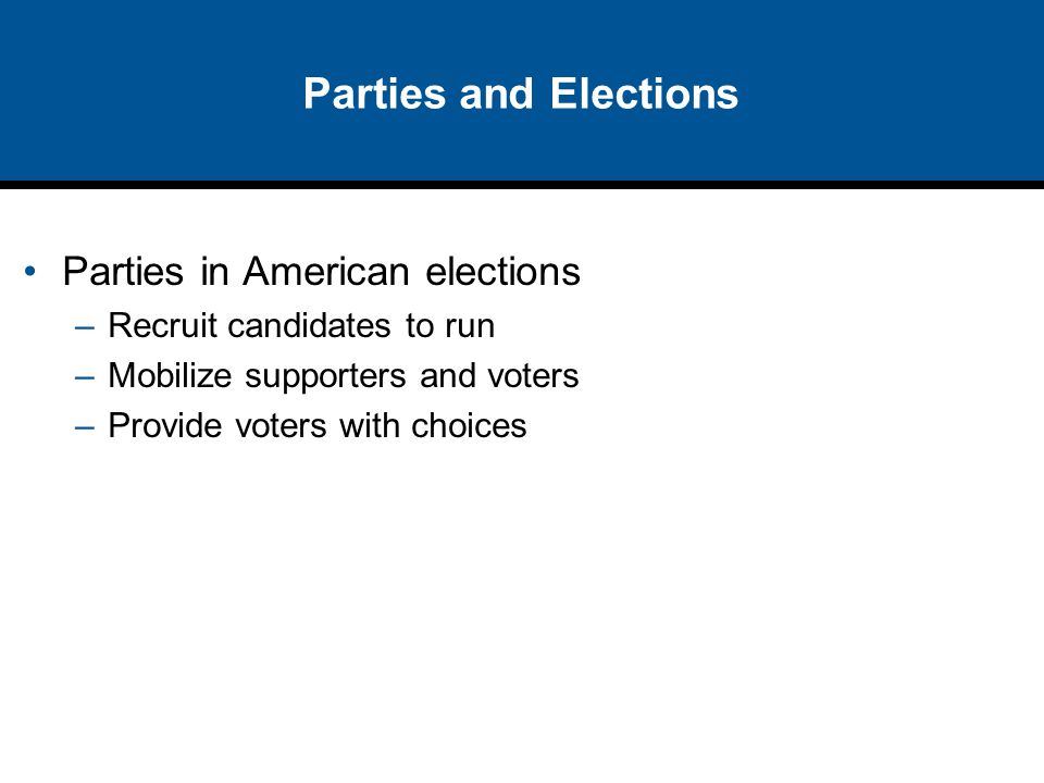 Parties and Elections Parties in American elections