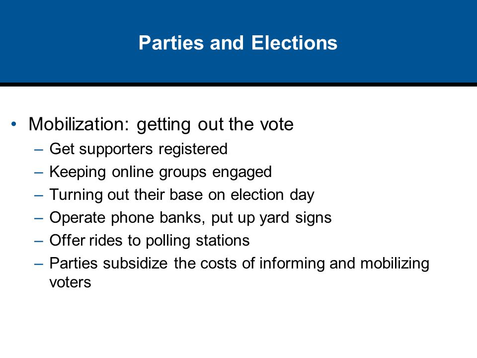 Parties and Elections Mobilization: getting out the vote