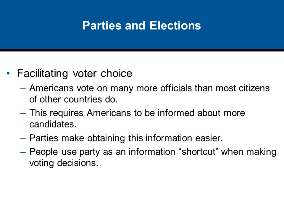 Parties and Elections Facilitating voter choice