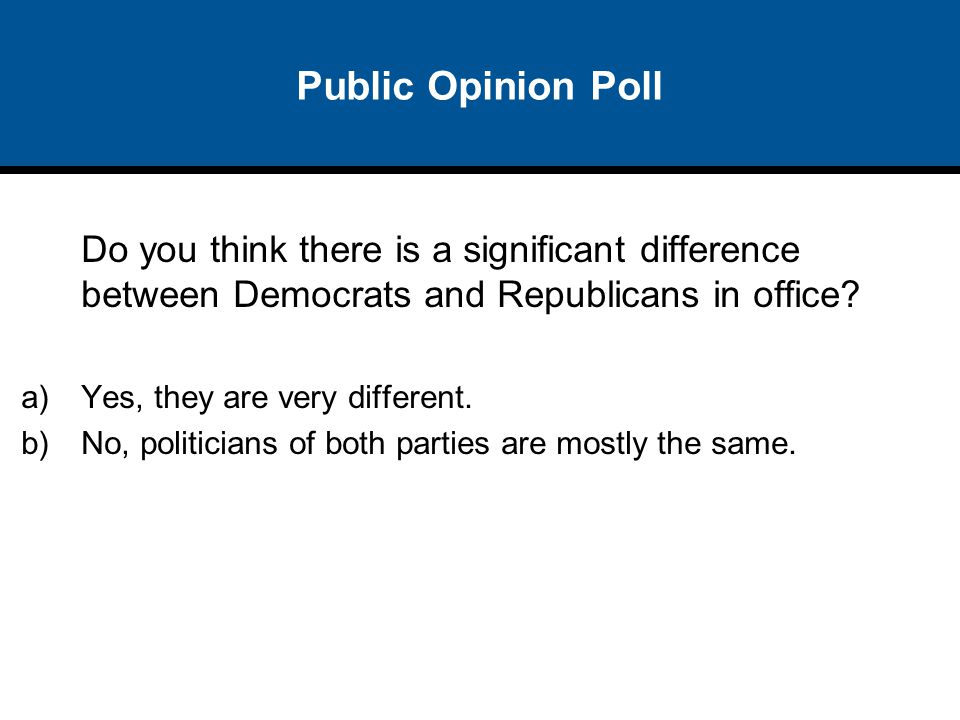 Public Opinion Poll Do you think there is a significant difference between Democrats and Republicans in office