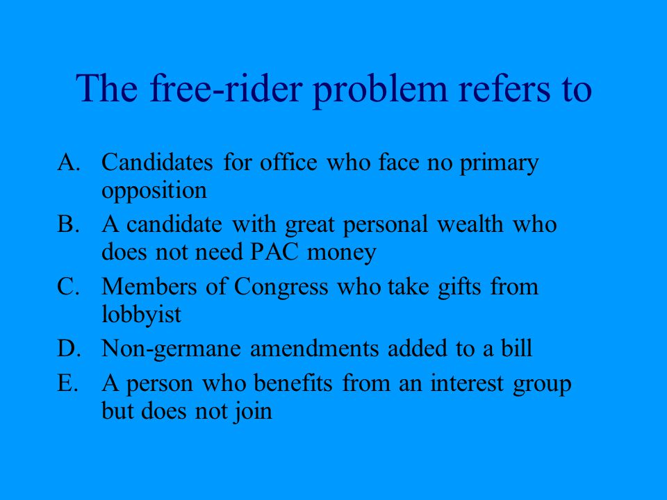 The free-rider problem refers to