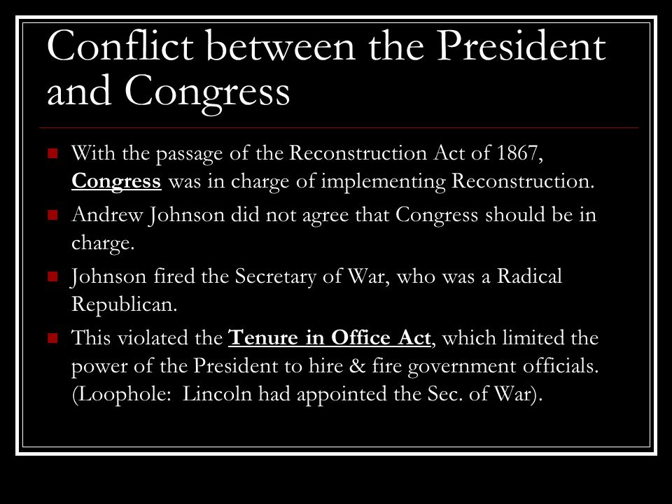 Conflict between the President and Congress